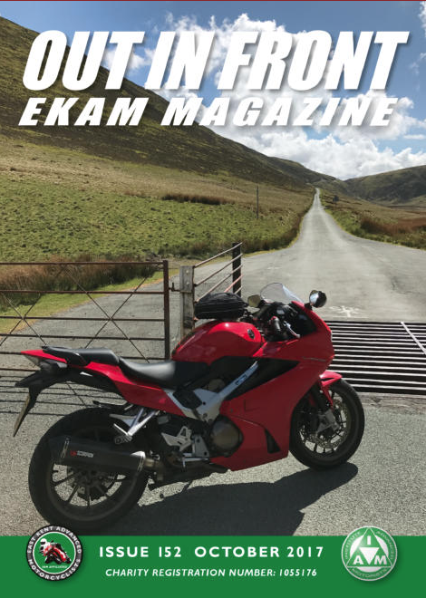 Clean MyRide combined bikewash degreaser's first appearance in East Kent Advanced Motorcyclists EKAM Magazine, Out In Front. Great to be working with IAM Institute of Advanced Motorcyclists